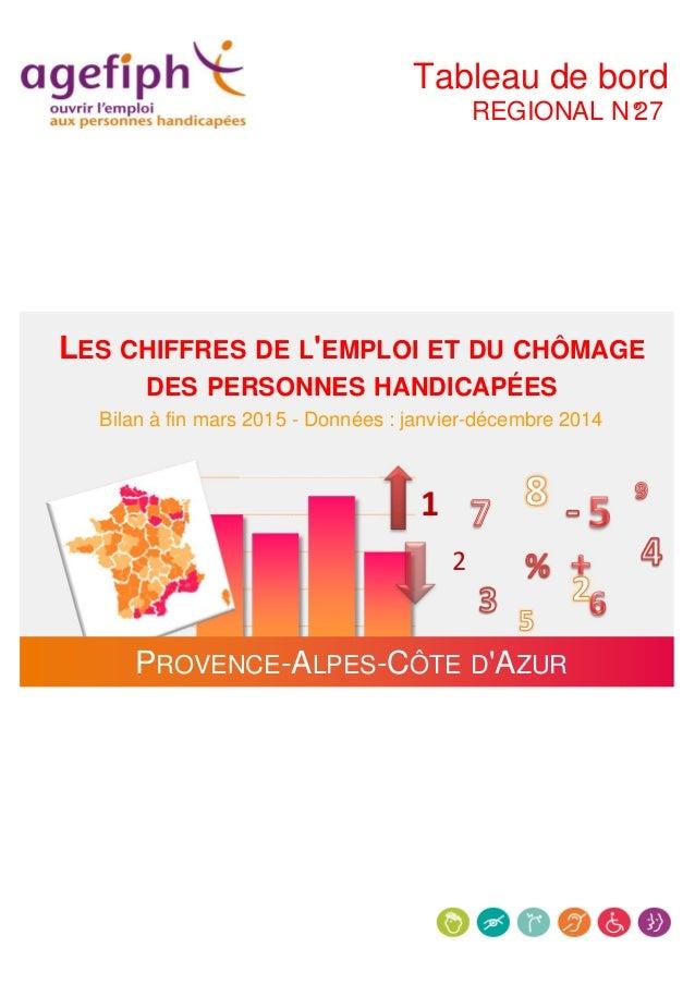 Tableau de bord REGIONAL N°27 LES CHIFFRES DE L'EMPLOI ET DU CHÔMAGE DES PERSONNES HANDICAPÉES Bilan à fin mars 2015 - Don...