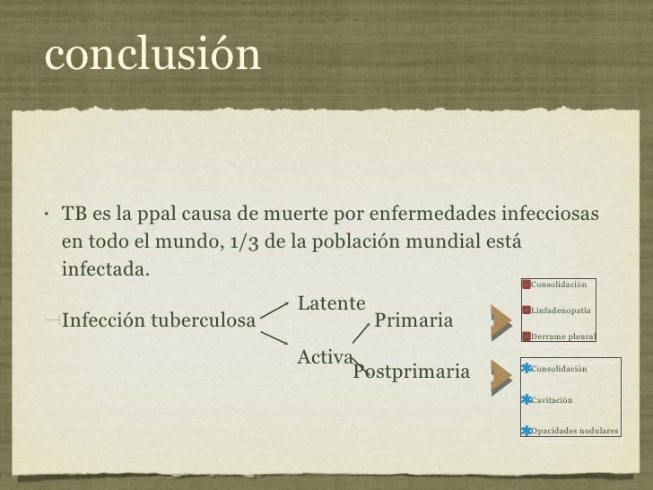 conclusión <ul><li>TB es la ppal causa de muerte por enfermedades infecciosas en todo el mundo, 1/3 de la población mundia...