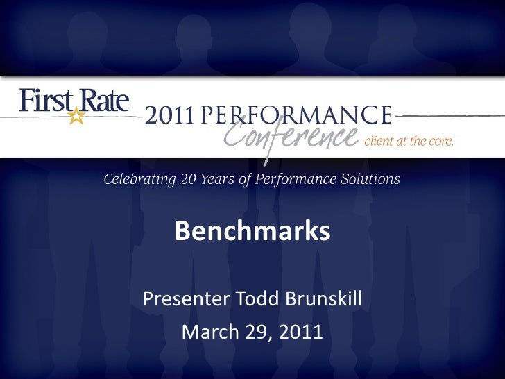 Benchmarks Presenter Todd Brunskill March 29, 2011