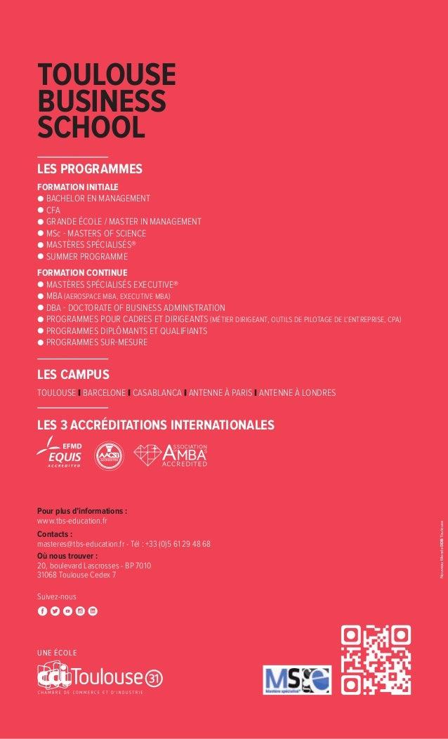 Pour plus d'informations : www.tbs-education.fr Contacts : masteres@tbs-education.fr - Tél : +33 (0)5 61 29 48 68 Où nous ...