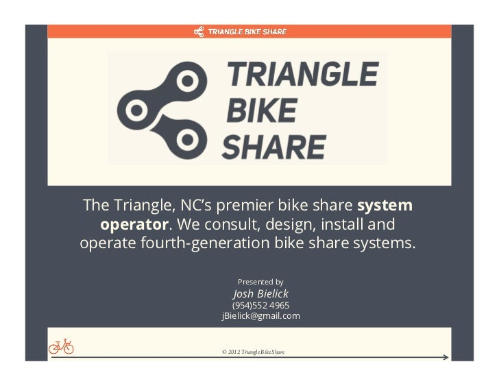 The Triangle, NC's premier bike share system  operator. We consult, design, install andoperate fourth-generation bike shar...