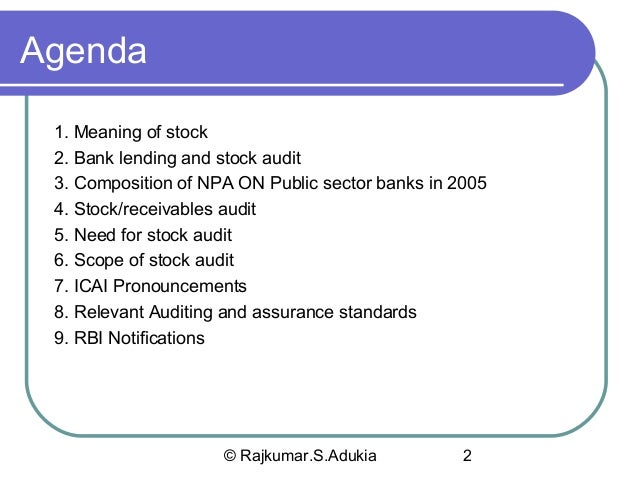 Stock Audit of Banks