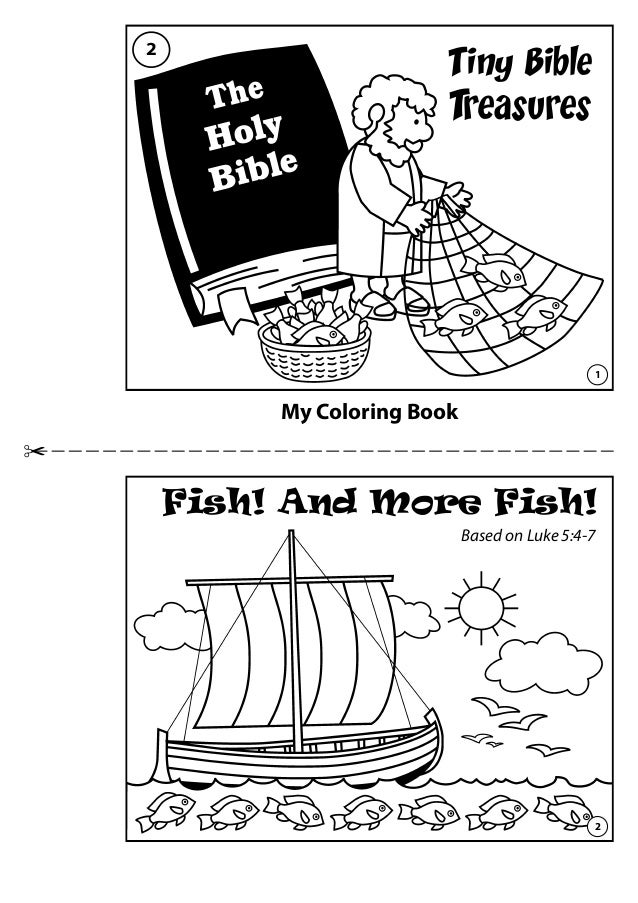 my coloring book tiny bible treasures fish and more fish