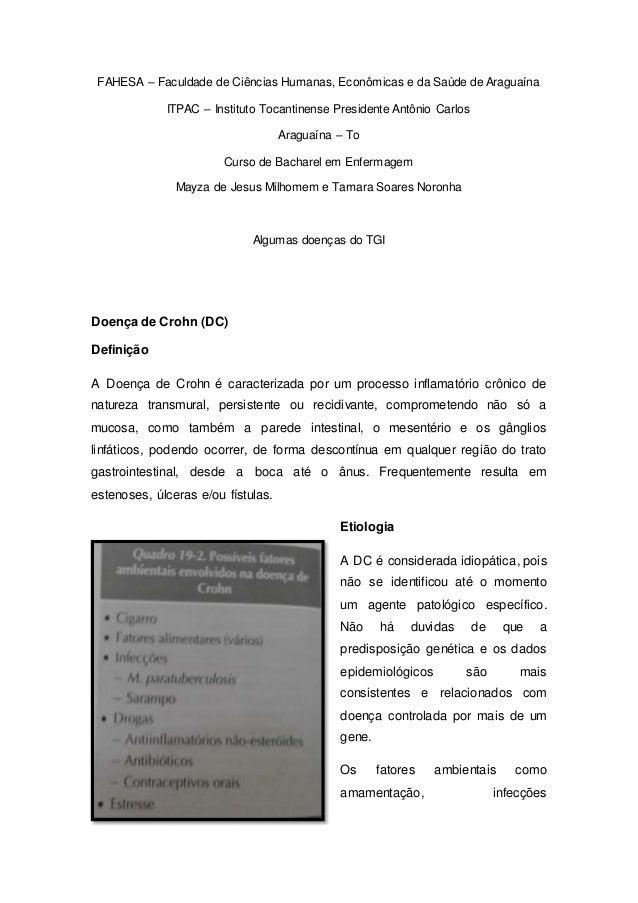 FAHESA – Faculdade de Ciências Humanas, Econômicas e da Saúde de Araguaína ITPAC – Instituto Tocantinense Presidente Antôn...