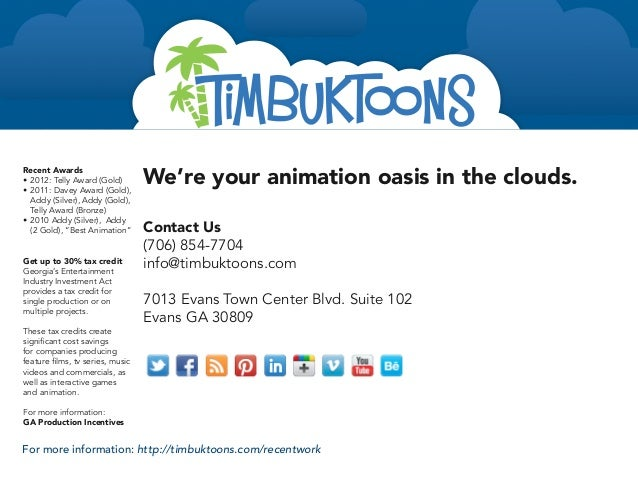 We're your animation oasis in the clouds.Recent Awards• 2012: Telly Award (Gold)• 2011: Davey Award (Gold),   Addy (Silv...