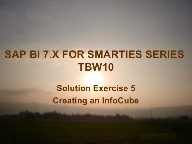 SAP BI 7.X FOR SMARTIES SERIES TBW10 Solution Exercise 5 Creating an InfoCube