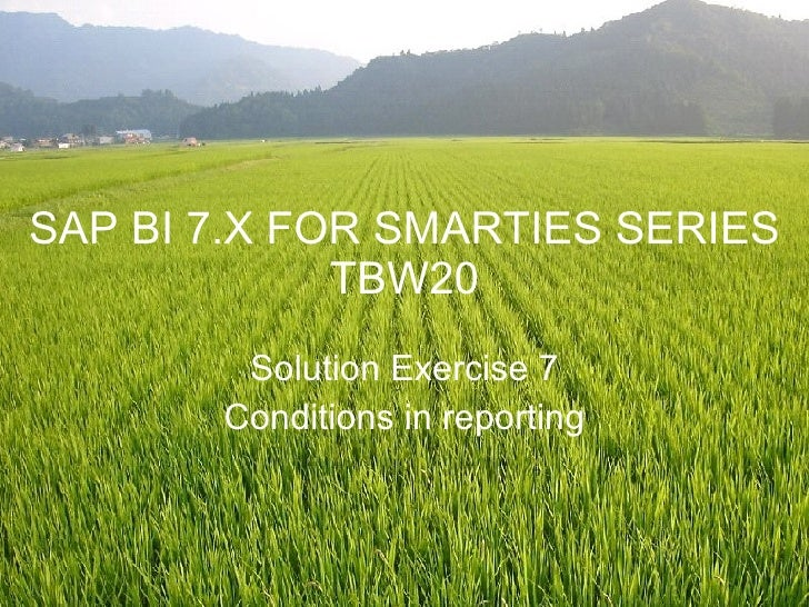 SAP BI 7.X FOR SMARTIES SERIES TBW20 Solution Exercise 7 Conditions in reporting
