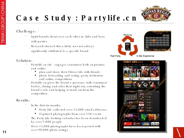 Case Study : Partylife.cn <ul><li>Challenge: </li></ul><ul><ul><li>Spirit brands shout over each other in clubs and bars w...