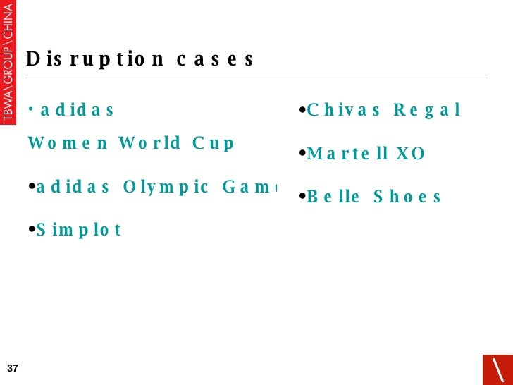 Disruption cases <ul><li>adidas   Women World Cup </li></ul><ul><li>adidas Olympic Games </li></ul><ul><li>Simplot </li></...