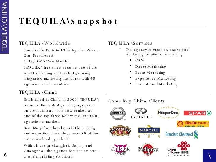 TEQUILA Snapshot <ul><li>TEQUILAWorldwide </li></ul><ul><ul><li>Founded in Paris in 1986 by Jean-Marie Dru, President & CE...