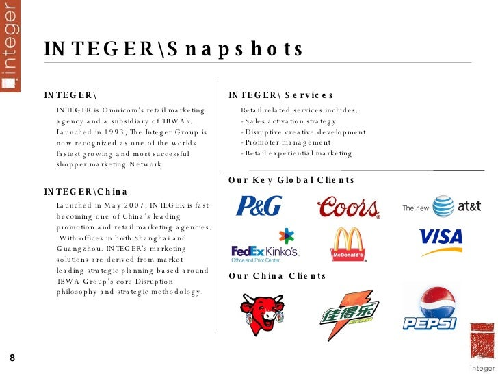 INTEGERSnapshots <ul><li>INTEGER </li></ul><ul><li>INTEGER is Omnicom's retail marketing agency and a subsidiary of TBWA. ...