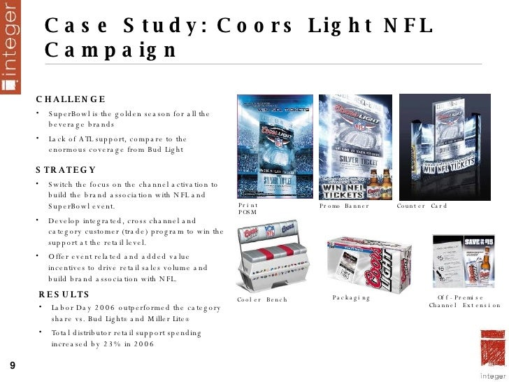 Case Study: Coors Light NFL Campaign Print  POSM Promo Banner Counter Card Cooler Bench Packaging Off-Premise  Channel Ext...