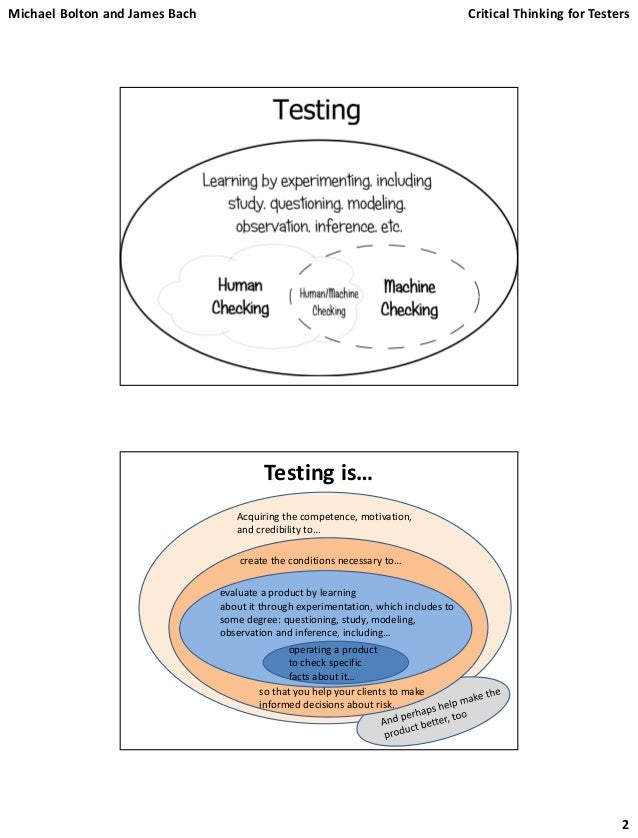 critical thinking for software testers Critical thinking: using logic and reasoning to identify the strengths   occupation overview: software qa engineers & testers job description ( example.