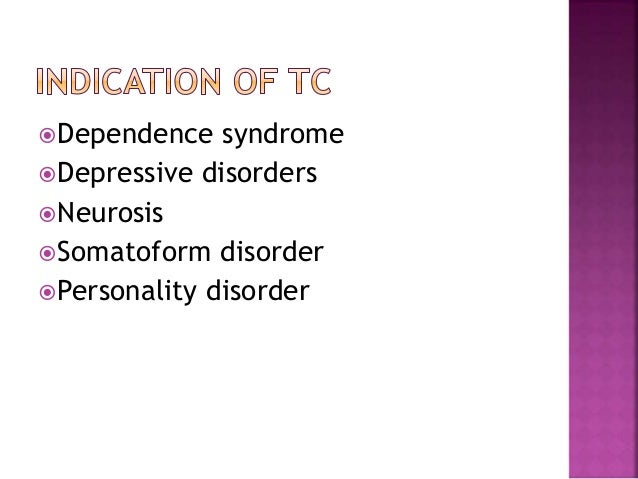 Dependence syndrome Depressive disorders Neurosis Somatoform disorder Personality disorder