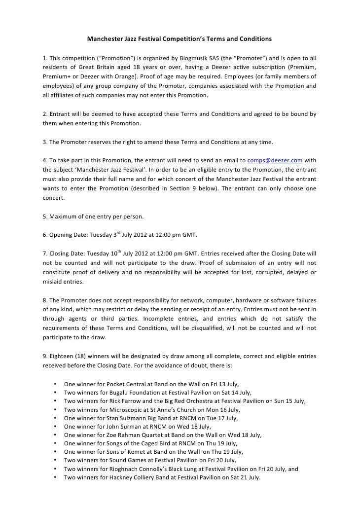 "Manchester	  Jazz	  Festival	  Competition's	  Terms	  and	  Conditions	  	  1.	  This	  competition	  (""Promotion"")	  is	..."