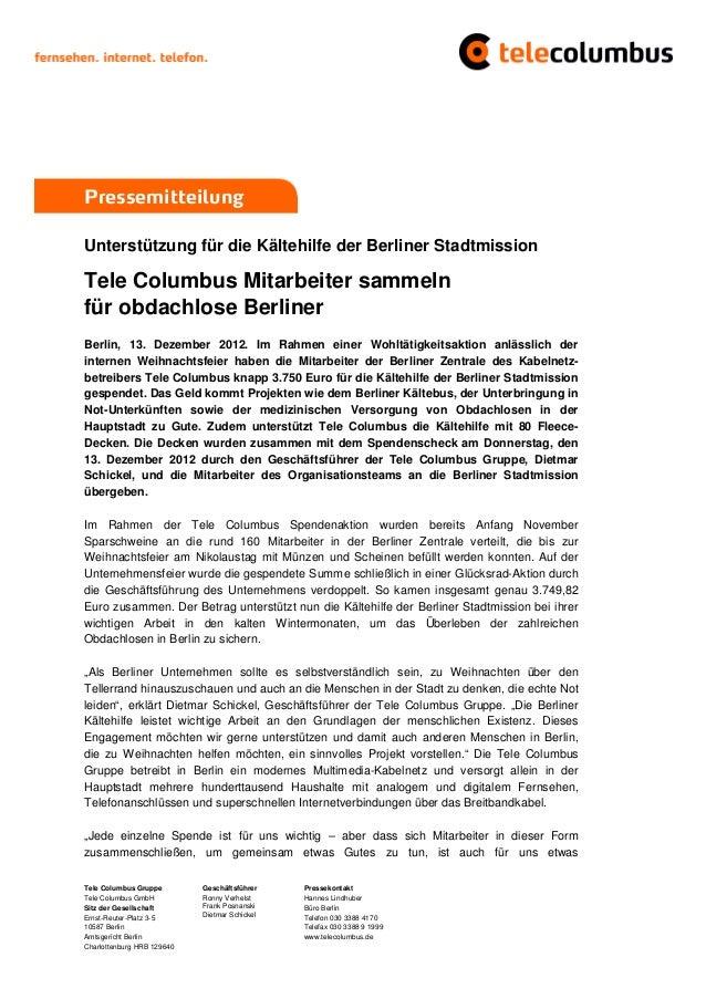 PressemitteilungUnterstützung für die Kältehilfe der Berliner StadtmissionTele Columbus Mitarbeiter sammelnfür obdachlose ...