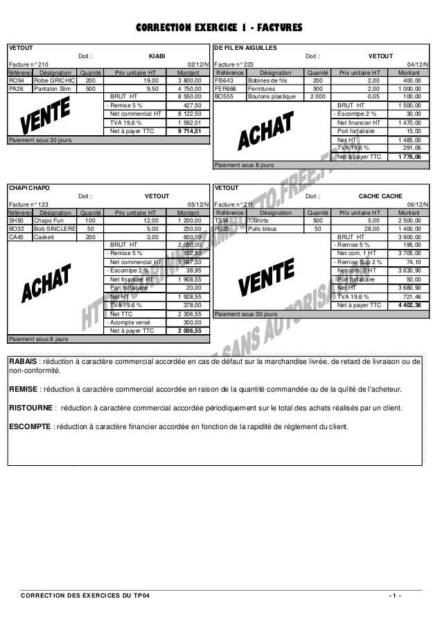 CORRECTION DES EXERCICES DU TP04 - 1 - Doit : Doit : 02/12/N 04/12/N Référence Désignation Quanité Prix unitaire HT Montan...