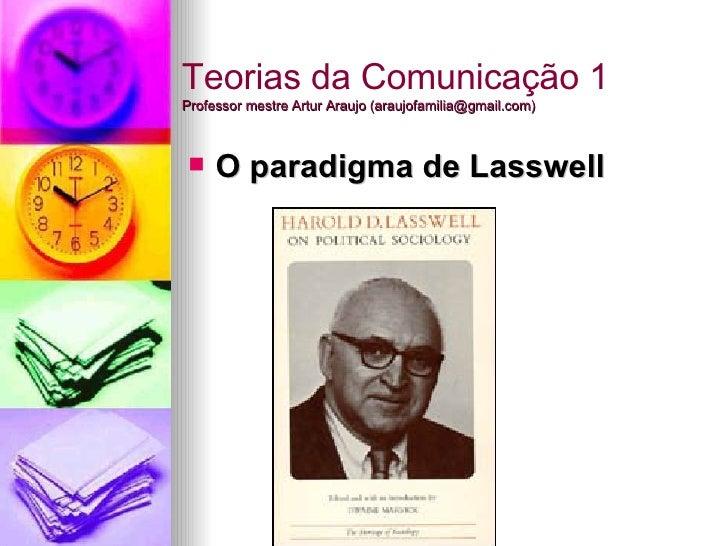 Teorias da Comunicação 1 Professor mestre Artur Araujo (araujofamilia@gmail.com) <ul><li>O paradigma de Lasswell </li></ul>
