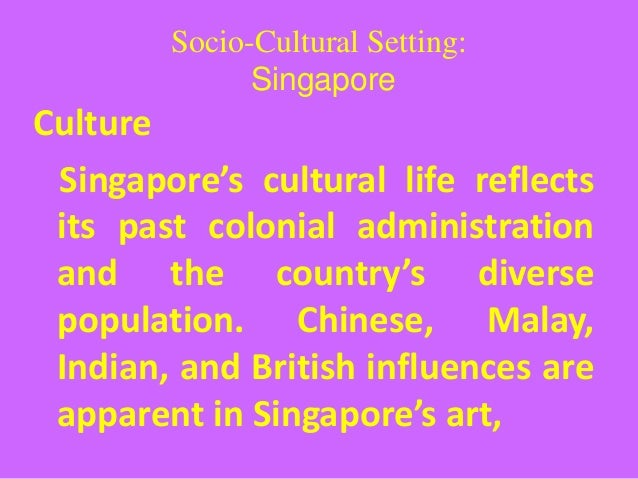 a socio cultural analysis of singapore According to socio-cultural analysis using by geert hofstede five cultural dimension model, furniture products made of teak are decided to market singapore these products are manufactured by myanmar teak company limited is using precious teaks from myanmar.