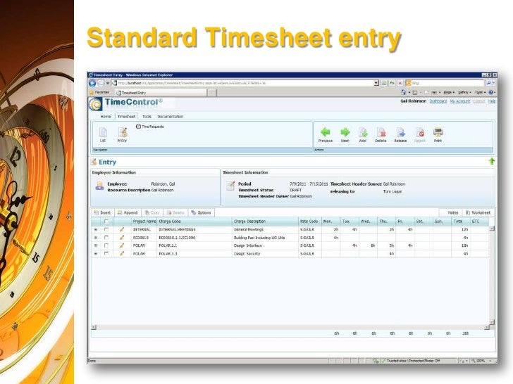 timecontrol timesheet entry in percentage