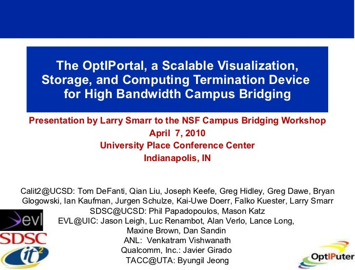 The OptIPortal, a Scalable Visualization, Storage, and Computing Termination Device  for High Bandwidth Campus Bridging Pr...
