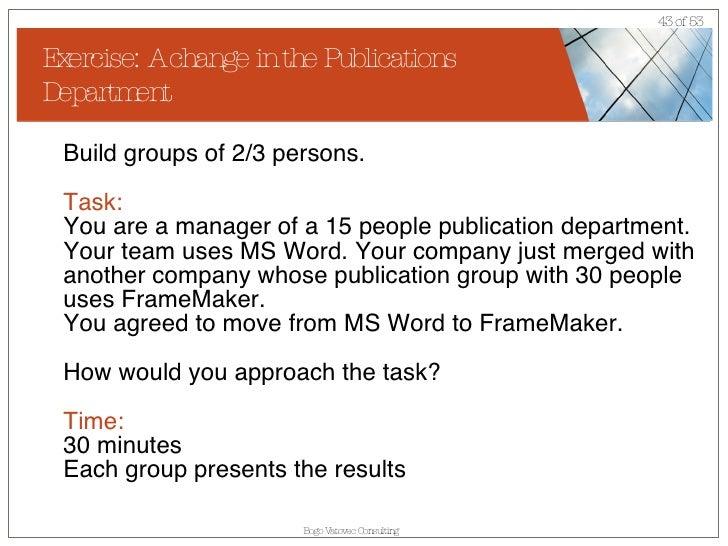 change management exercise Change Management for Publication Department