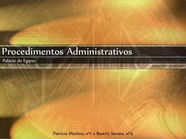 Procedimentos Administrativos Palácio do Egipto Patrícia Martins, nº1 e Beatriz Santos, nº4