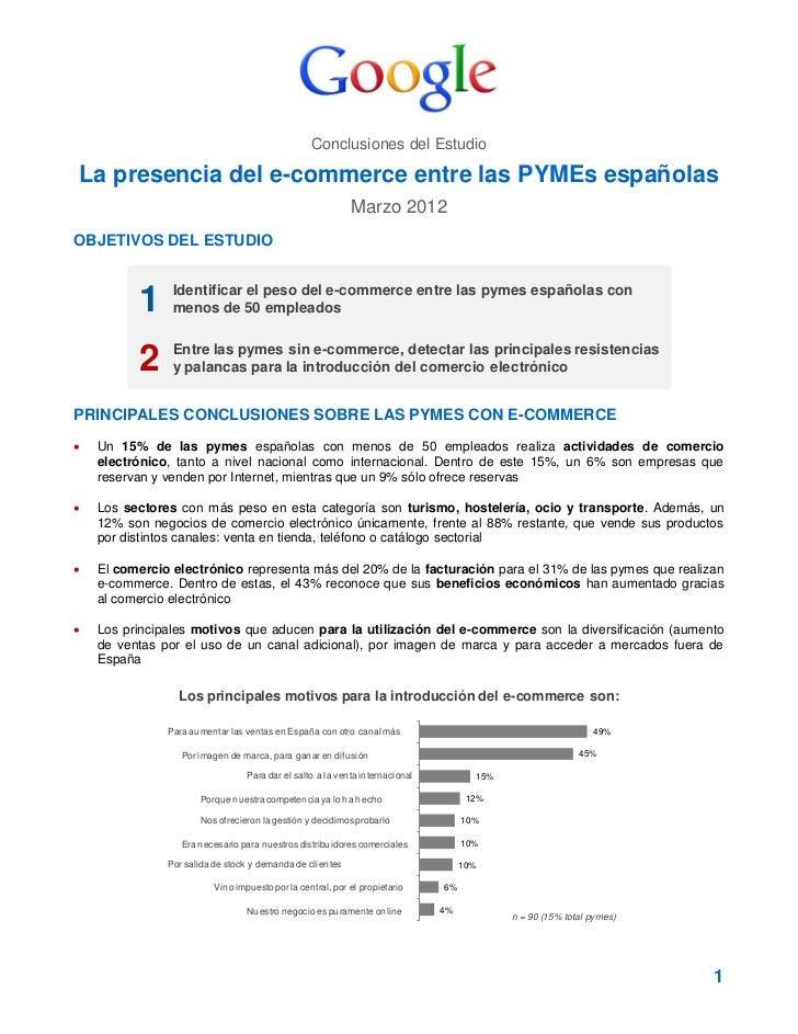 Conclusiones del EstudioLa presencia del e-commerce entre las PYMEs españolas                                             ...