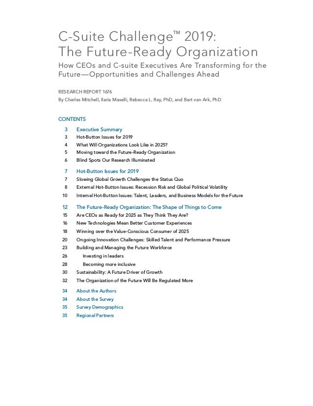 C-Suite Challenge™ 2019: TheFuture-Ready Organization How CEOs and C-suite Executives Are Transforming for the Future—Opp...