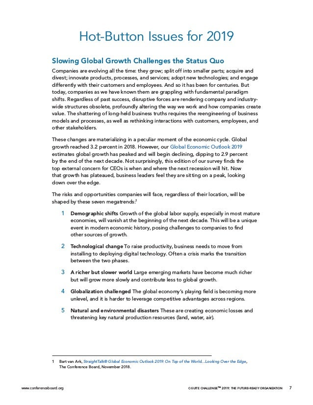 www.conferenceboard.org c-suite challenge™ 2019: the future-ready organization 7 Hot-Button Issues for 2019 Slowing Global...
