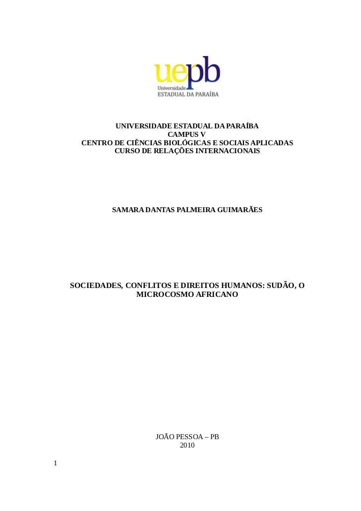 UNIVERSIDADE ESTADUAL DA PARAÍBA                          CAMPUS V      CENTRO DE CIÊNCIAS BIOLÓGICAS E SOCIAIS APLICADAS ...