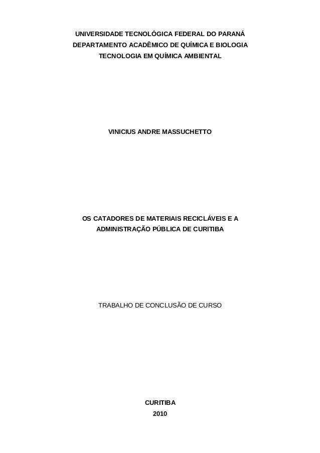UNIVERSIDADE TECNOLÓGICA FEDERAL DO PARANÁDEPARTAMENTO ACADÊMICO DE QUÍMICA E BIOLOGIA      TECNOLOGIA EM QUÍMICA AMBIENTA...