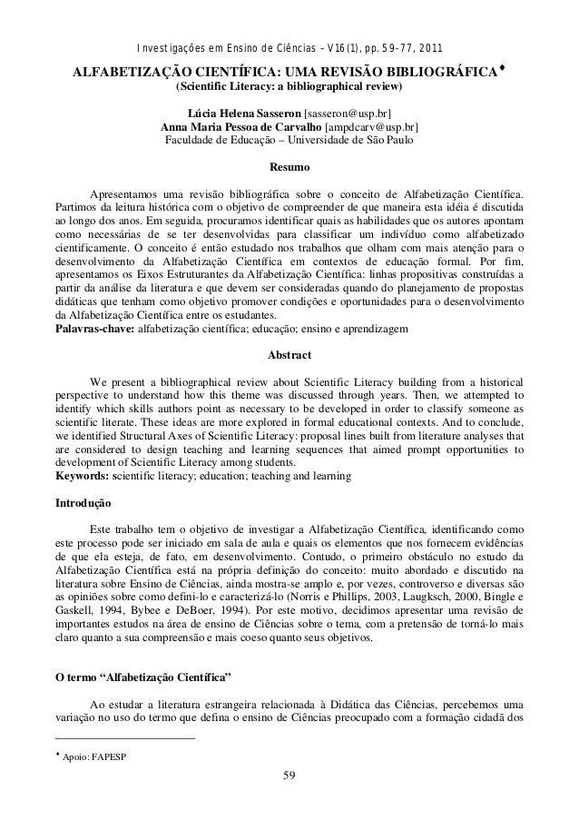Investigações em Ensino de Ciências – V16(1), pp. 59-77, 2011  59 ALFABETIZAÇÃO CIENTÍFICA: UMA REVISÃO BIBLIOGRÁFICA♦ (S...