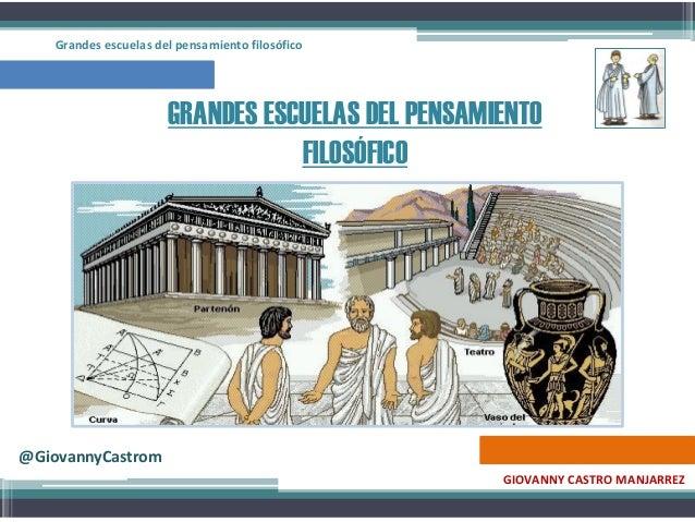 GRANDES ESCUELAS DEL PENSAMIENTO FILOSÓFICO GIOVANNY CASTRO MANJARREZ @GiovannyCastrom Grandes escuelas del pensamiento fi...