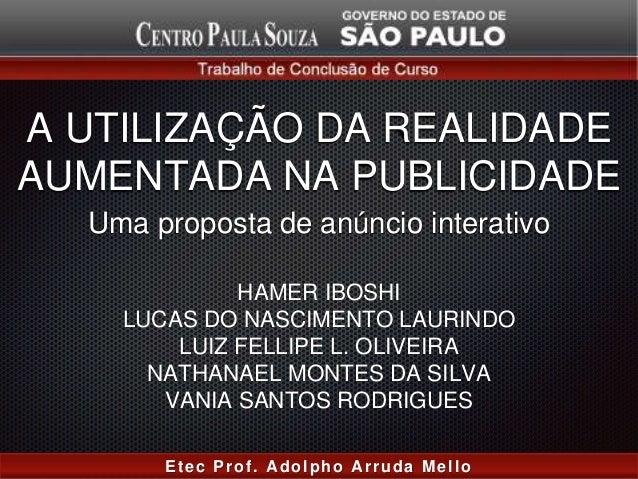 A UTILIZAÇÃO DA REALIDADE AUMENTADA NA PUBLICIDADE HAMER IBOSHI LUCAS DO NASCIMENTO LAURINDO LUIZ FELLIPE L. OLIVEIRA NATH...