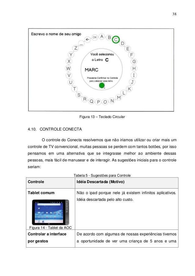 38  Figura 13 – Teclado Circular  4.10. CONTROLE CONECTA O controle do Conecta resolvemos que não iriamos utilizar ou cria...