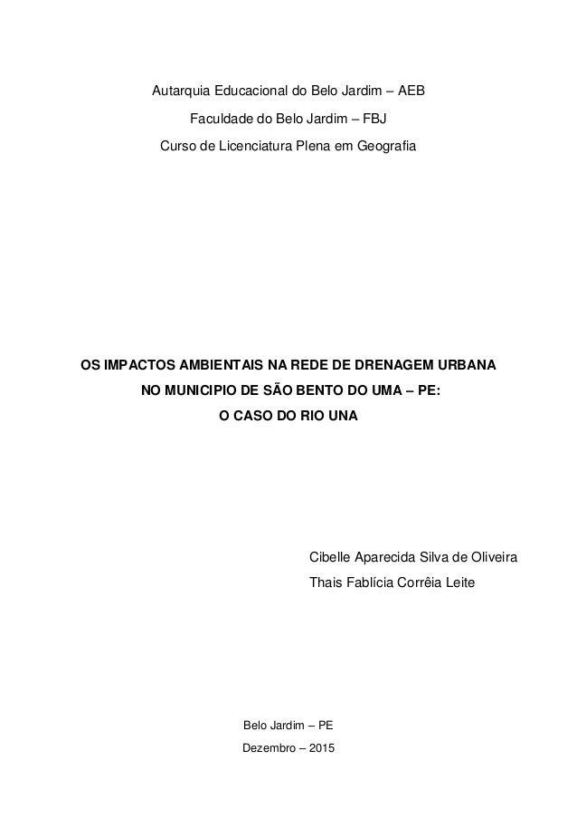 Autarquia Educacional do Belo Jardim – AEB Faculdade do Belo Jardim – FBJ Curso de Licenciatura Plena em Geografia OS IMPA...