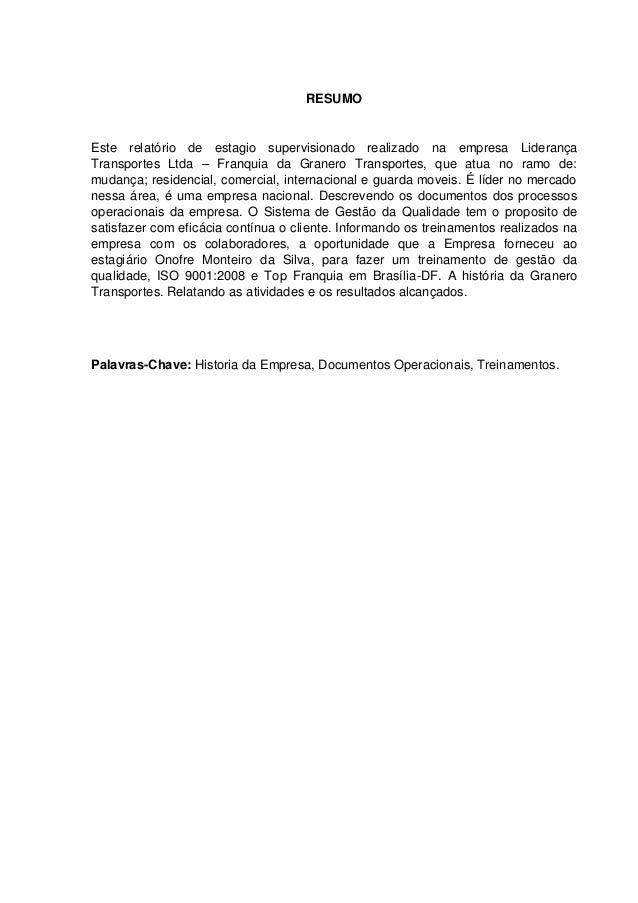 Tcc documentos operacionais de mudança residencial