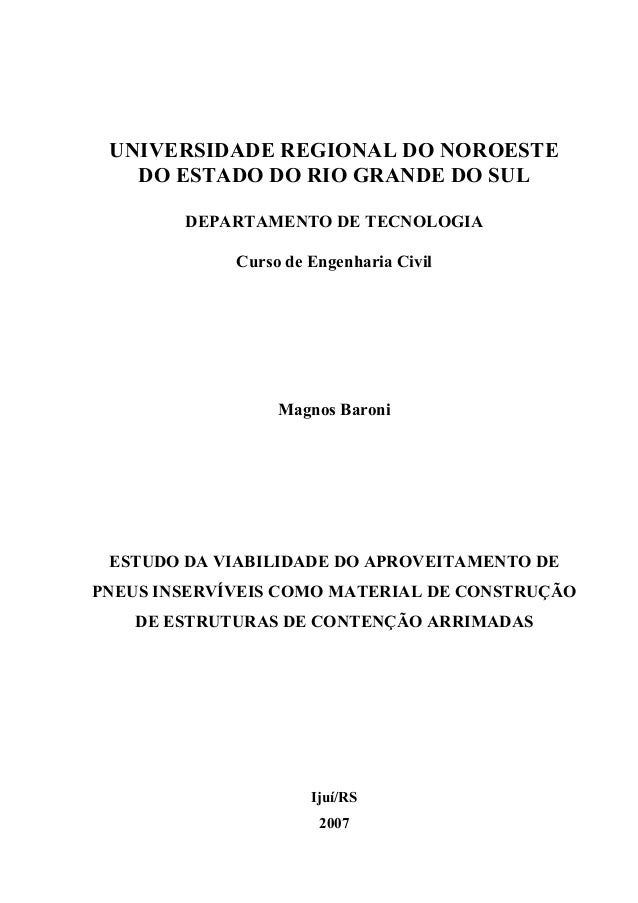 1 UNIVERSIDADE REGIONAL DO NOROESTE   DO ESTADO DO RIO GRANDE DO SUL               DEPARTAMENTO DE TECNOLOGIA             ...