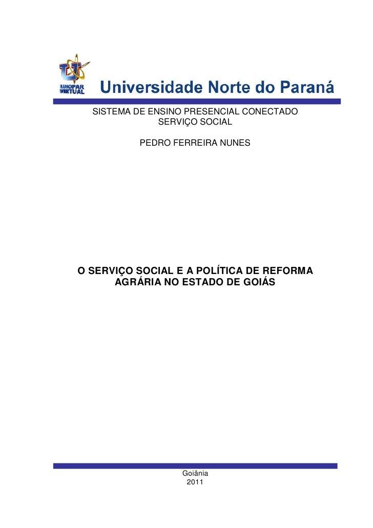 SISTEMA DE ENSINO PRESENCIAL CONECTADO               SERVIÇO SOCIAL          PEDRO FERREIRA NUNESO SERVIÇO SOCIAL E A POLÍ...