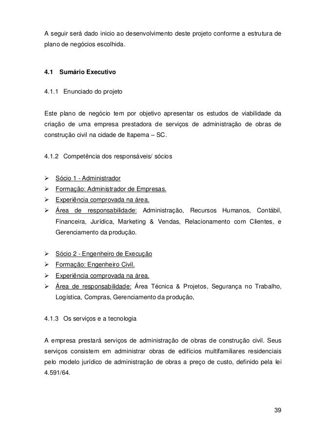 Tcc plano de neg cios administradora de obras for Planos de obra civil