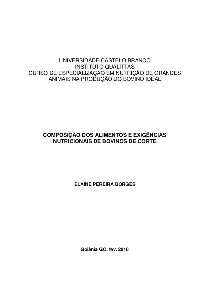 UNIVERSIDADE CASTELO BRANCO INSTITUTO QUALITTAS CURSO DE ESPECIALIZAÇÃO EM NUTRIÇÃO DE GRANDES ANIMAIS NA PRODUÇÃO DO BOVI...