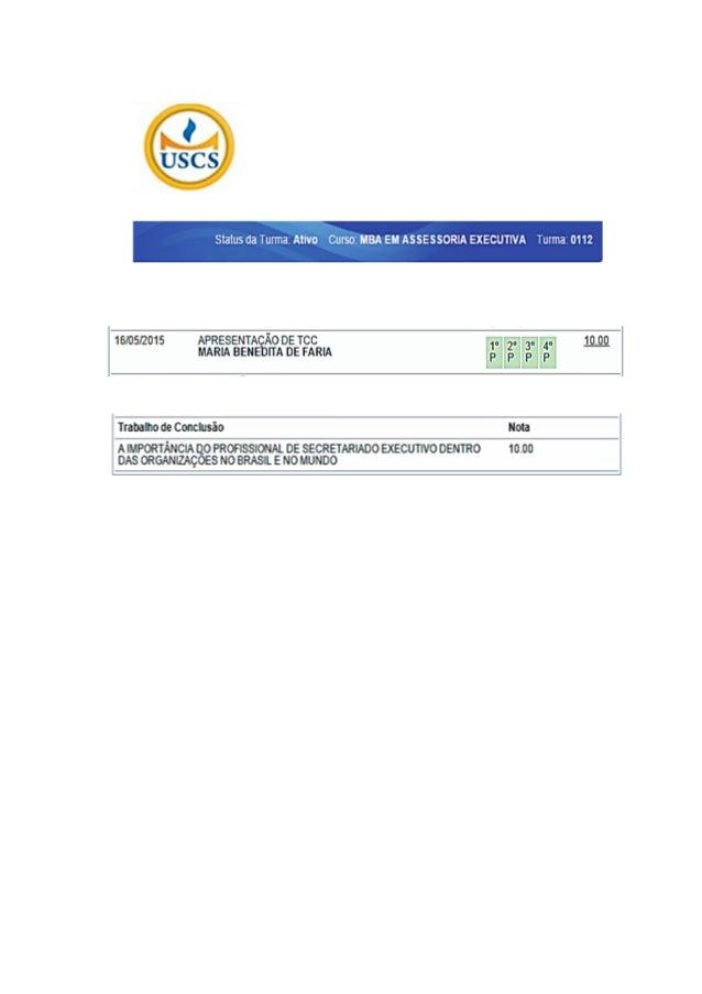 Universidade Municipal de São Caetano do Sul - USCS Pós-Graduação Lato Sensu MBA em Assessoria Executiva Luciana Medina Pe...