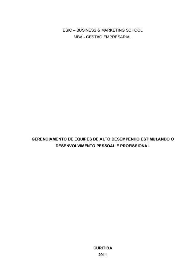 ESIC – BUSINESS & MARKETING SCHOOL                       MBA - GESTÃO EMPRESARIAL       GERENCIAMEN...