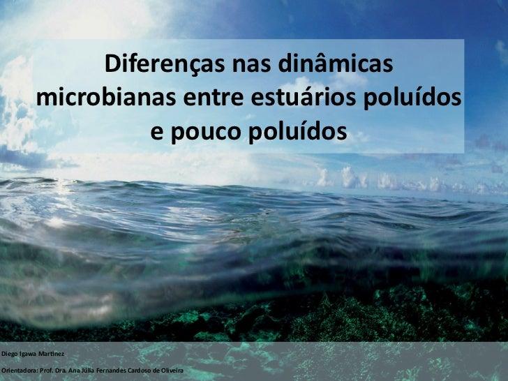 Diferençasnasdinâmicas           microbianasentreestuáriospoluídos                    epoucopoluídosDiegoIgawaM...