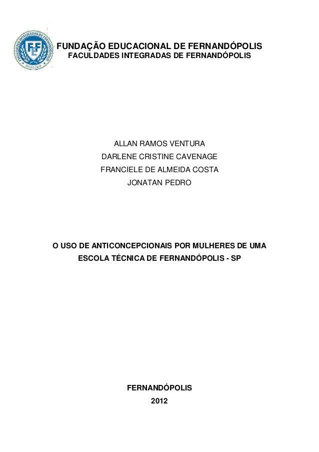 FUNDAÇÃO EDUCACIONAL DE FERNANDÓPOLIS   FACULDADES INTEGRADAS DE FERNANDÓPOLIS             ALLAN RAMOS VENTURA          DA...