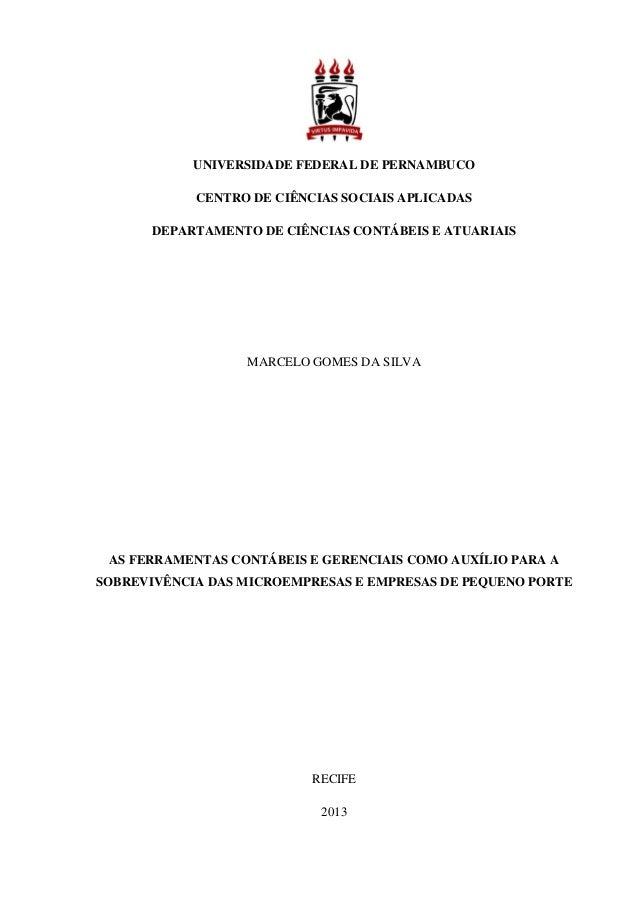 UNIVERSIDADE FEDERAL DE PERNAMBUCO CENTRO DE CIÊNCIAS SOCIAIS APLICADAS DEPARTAMENTO DE CIÊNCIAS CONTÁBEIS E ATUARIAIS MAR...