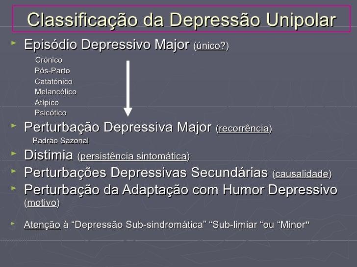 Classificação da Depressão Unipolar►   Episódio Depressivo Major (único?)      Crónico      Pós-Parto      Catatónico     ...