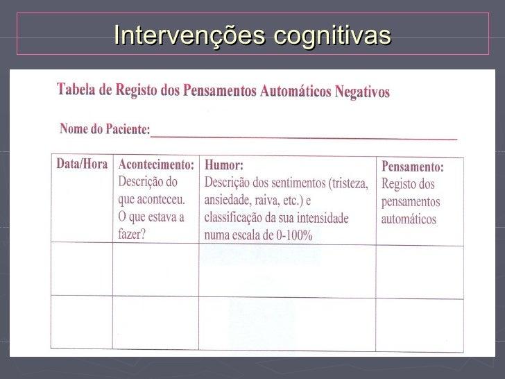 Intervenções cognitivasTécnicas:►   Modificar pensamentos automáticos negativos    Examinar as lógica dos pensamentos    e...