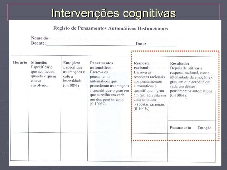 """Intervenções cognitivasTécnicas:►   Modificar pensamentos automáticos negativos    Flecha descendente    """"O que significa ..."""